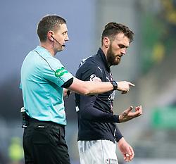 Falkirk's Lee Miller after a tackle by St Mirren's Jack Baird. Falkirk 3 v 1 St Mirren, Scottish Championship game played 3/12/2016 at The Falkirk Stadium.