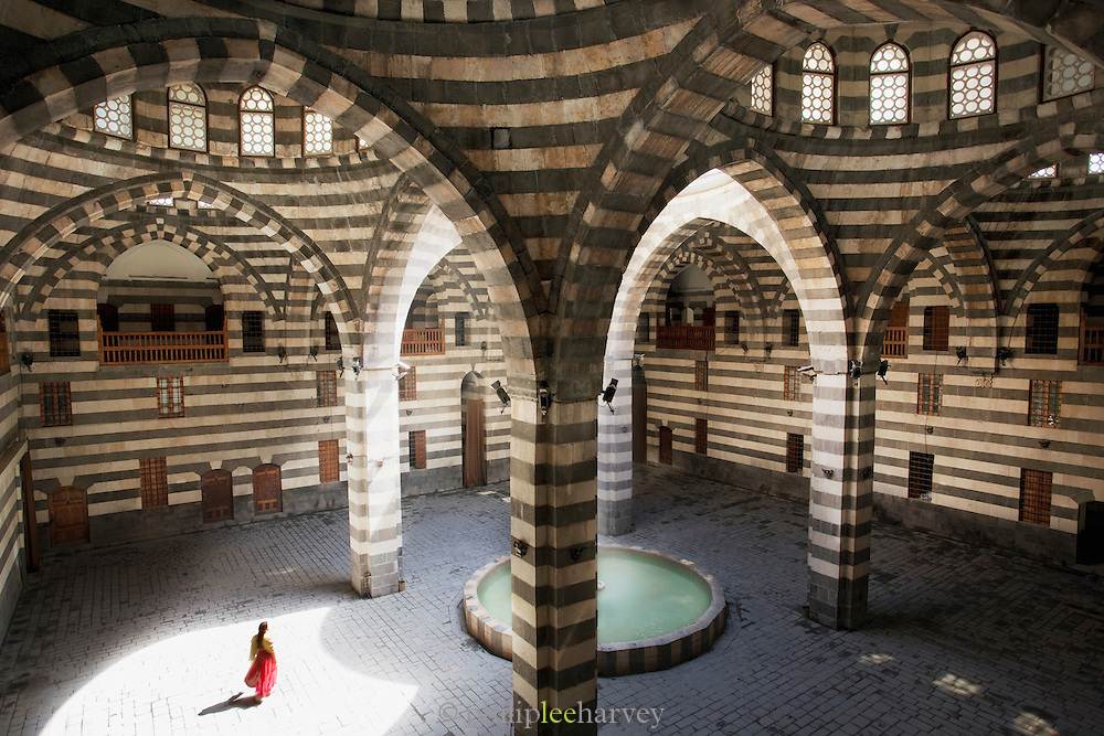The Khan As'ad Pasha, a caravanserai, in the Old City in Damascus, Syria