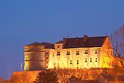 The Chateau de Tournon flood lit at night. Built on a cliff in the 14th fourteenth and 15th fifteenth century by the seigneurs de Tournon. Tournon-sur-Rhone, Ardeche Ardèche, France, Europe