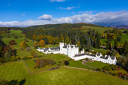 Aerial view of Blair Castle in Blair Atholl near Pitlochry, Perthshire, Scotland, UK