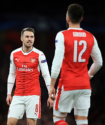 7 March 2017 - UEFA Champions League - (Round of 16) - Arsenal v Bayern Munich - Aaron Ramsey and Olivier Giroud of Arsenal - Photo: Marc Atkins / Offside.