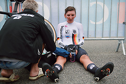 Lisa Brennauer (GER) recovers after the 2020 UEC Road European Championships - Elite Women ITT, a 25.6 km individual time trial in Plouay, France on August 24, 2020. Photo by Sean Robinson/velofocus.com