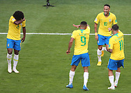 Brazil players celebrate after the Neymar's goal during the 2018 FIFA World Cup Russia, round of 16 football match between Brazil and Mexico on July 2, 2018 at Samara Arena in Samara, Russia - Photo Tarso Sarraf / FramePhoto / ProSportsImages / DPPI