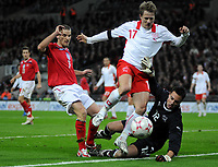 Photo: Tony Oudot/Richard Lane Photography. <br /> England v Switzerland. International Friendly. 06/02/2008.<br /> David Bentley of England goes close to goal but the ball is saved by Christoph Spycher and Diego Benaglio of Switzerland
