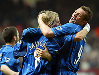 Photo. Chris Ratcliffe<br />Charlton v Birmingham. FA Premiership. 19/04/2003<br />Geoff Horsfield celebrates with Robbie Savage after Savage scored his penalty
