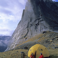 MOUNTAINEERING, Camp in Cirque of the Unclimbables, Northwest Territories, Canada. Mount Harrison Smith background.