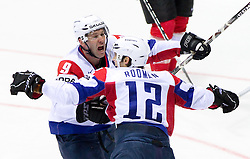Tomaz Razingar of Slovenia and David Rodman of Slovenia celebrate during ice-hockey match between Austria and Slovenia of Group G in Relegation Round of IIHF 2011 World Championship Slovakia, on May 7, 2011 in Orange Arena, Bratislava, Slovakia. (Photo By Vid Ponikvar / Sportida.com)