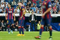 Barcelona´s coach Luis Enrique (C) during La Liga match between Real Madrid and F.C. Barcelona in Santiago Bernabeu stadium in Madrid, Spain. October 25, 2014. (ALTERPHOTOS/Victor Blanco)