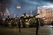 Moscow, Russia, 04/05/2010..Russian mobile howitzers at a night time rehearsal in Red Square for the forthcoming May 9 Victory Day parade, scheduled to be the largest for many years.