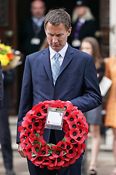 © Licensed to London News Pictures. 25/04/2019. London, UK. Foreign and Commonwealth Secretary Jeremy Hunt lays a wreath at The Cenotaph on Whitehall to mark Anzac Day. Photo credit : Tom Nicholson/LNP