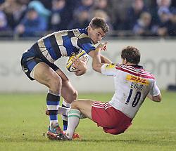 Ollie Devoto of Bath Rugby pushes Nick Evans of Harlequins  - Photo mandatory by-line: Alex James/JMP - Mobile: 07966 386802 - 28/11/2014 - SPORT - Rugby - Bath - Recreation Ground - Bath  v Harlequins  - Aviva premiership