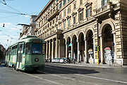 An historic tram in the street, Rome, Italy.