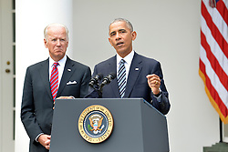 U.S.President Barack Obama makes remarks, as Vice President Joe Biden listens, on Republican President-elect Donald J. Trump's presidential victory over Former Secretary of State Hillary Clinton, at the White House, November 9, 2016, in Washington, DC. Obama invited Trump to visit the White House and promised a smooth transition. Photo by Mike Theiler/Pool/ABACAPRESS.COM