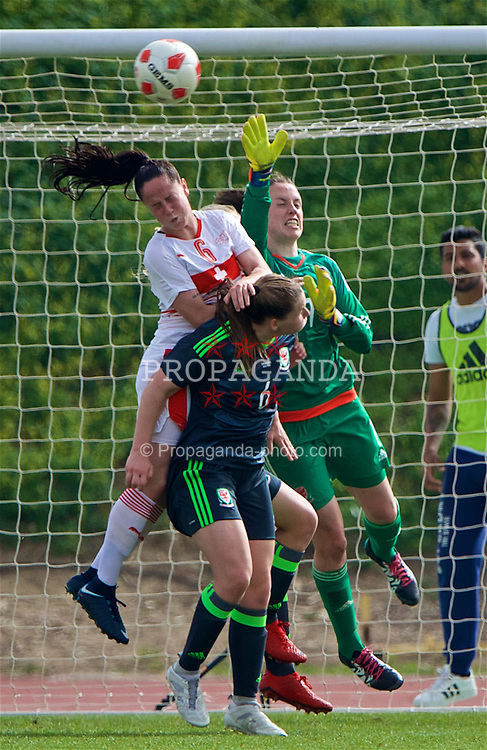 LARNACA, CYPRUS - Monday, March 5, 2018: Wales' goalkeeper Laura O'Sullivan and Switzerland's Geraldine Reuteler during the Cyprus Women's Cup Group A match between Switzerland and Wales on day seven of the Cyprus Cup tournament at the GSZ Stadium Stadium. (Pic by David Rawcliffe/Propaganda)