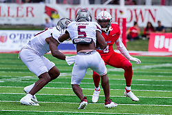 NORMAL, IL - October 02: Iverson Brown looks to stop Kevon Latulas during a college football game between the Bears of Missouri State and the ISU (Illinois State University) Redbirds on October 02 2021 at Hancock Stadium in Normal, IL. (Photo by Alan Look)