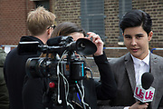 Television anchor from US Magazine prepares for another broadcast, waiting on the second Royal baby story, London, UK.