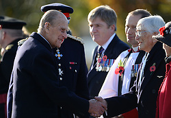 The Duke of Edinburgh meets Guinea Pig Club member Dr Sandy Saunders (right) at the National Memorial Arboretum in Staffordshire where he is dedicating a memorial to the Guinea Pig Club, formed in 1941 by men being treated for burns at a hospital in Sussex, as well as meeting with surviving members of the club and their guests.
