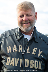Marty Patterson in Aune Osborne Park in Sault Sainte Marie, the site of the official start of the Cross Country Chase motorcycle endurance run from Sault Sainte Marie, MI to Key West, FL. (for vintage bikes from 1930-1948). Thursday, September 5, 2019. Photography ©2019 Michael Lichter.