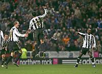 Photo: Andrew Unwin.<br />Newcastle United v Everton. The Barclays Premiership. 25/02/2006.<br />Newcastle's Nolberto Solano (C) celebrates scoring his second goal.
