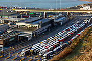 Lorries line up for departure inside the Eastern Dock of the Port of Dover is where the cross channel port is situated with ferries departing here to go to Calais in France on the 29th of January 2020 in Dover, Kent, United Kingdom. Dover is the nearest port to France with just 34 kilometres 21 miles between them. It is one of the busiest ports in the world. As well as freight container ships it is also the main port for P&O and DFDS Seaways ferries.