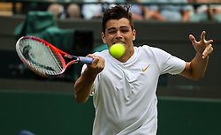 LONDON, July 6, 2018  Taylor Fritz of the United States hits a return during the men's singles second round match against Alexander Zverev at the Wimbledon Championships 2018 in London, Britain, on July 5, 2018. (Credit Image: © Tang Shi/Xinhua via ZUMA Wire)