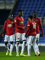 Football - 2019 / 2020 Premier League 2 (Under-23s) Division Two - Reading vs. Manchester United<br /> <br /> Manchester United's Dillon Hoogewerf (16) celebrates scoring his side's fourth goal with Di'shon Bernard, at the Madejski Stadium.<br /> <br /> COLORSPORT/ASHLEY WESTERN