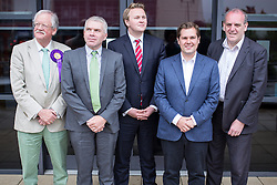 © Licensed to London News Pictures . 04/06/2014 . Nottingham , UK . L-R Roger Helmer ( UKIP ) , David Kirwan ( Green Party ) , Michael Payne ( Labour ) , Robert Jenrick ( Conservative ) and David Watts (Liberal Democrats ) . Candidates in the Newark by-election outside BBC Radio Nottingham this morning (Wednesday 4th June 2014) ahead of the by-election tomorrow (Thursday 5th June 2014) . Photo credit : Joel Goodman/LNP