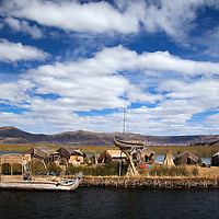 South America, Peru, Uros Islands. The floating reed islands of Lake Titicaca.