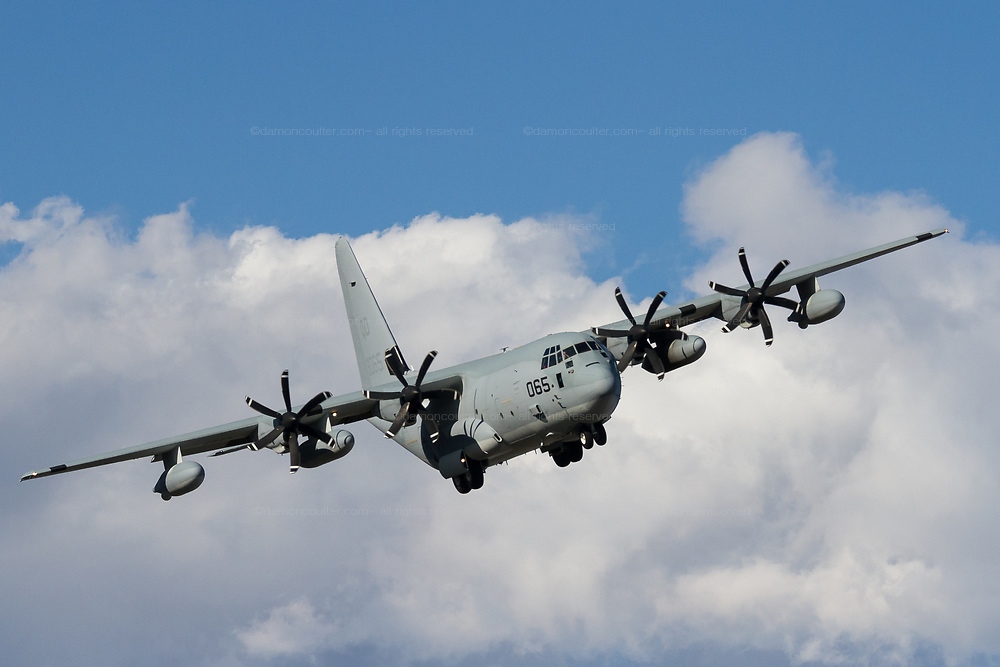 "A Lockheed C-130J Hercules aircraft with the US Marines Aerial Refueling Transport Squadron 152 (VMGR-152) known as the ""Sumos"" landing at Naval Air Facility, Atsugi near Yamato, Kanagawa, Japan. Thursday January 30th 2020"