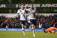 Kyle Walker of Tottenham Hotspur ® celebrates after scoring his teams 4th goal to make it 4-0 with Ryan Mason of Tottenham Hotspur. Barclays Premier league match, Tottenham Hotspur v West Ham Utd at White Hart Lane in London on Sunday 22nd November 2015.<br /> pic by John Patrick Fletcher, Andrew Orchard sports photography.