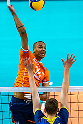 Nimir Abdelaziz of Netherlands in action during the CEV Eurovolley 2021 Qualifiers between Sweden and Netherlands at Topsporthall Omnisport on May 14, 2021 in Apeldoorn, Netherlands