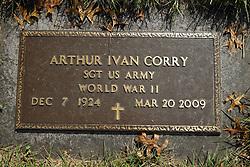 31 August 2017:   Veterans graves in Dawson Cemetery in eastern McLean County.<br /> <br /> Arthur Ivan Corry  Sergeant US Army  World War II  Dec 7 1924   Mar 20 2009