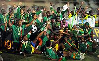 Fotball , 12. februar 2012 finale Afrika-mesterskapet<br /> Zambia - Elfenbenskysten<br /> lagbilde , jubelbilde - Zambie Football : Zambie / Cote d Ivoire - Finale - Coupe d Afrique des Nations<br /> <br /> Norway only
