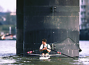 © 2000 All Rights Reserved - Peter Spurrier Sports Photo. <br />Tel 44 (0) 1784-440 771  <br />Mobile 44 (0) 973 819 551<br />email pictures@rowingpics.com<br />Peter Haining, shelters from the wind  Thames Sculling Challenge 20010301 Thames World Sculling Challenge, Putney, London