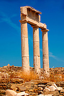 Doric Columns of the Temple of Poseidon The ruins of the Greek city of Delos, the birthplace of the twin gods Apollo and Artemis. Greek Cyclades Islands. .<br /> <br /> Visit our GREEK HISTORIC PLACES PHOTO COLLECTIONS for more photos to download or buy as wall art prints https://funkystock.photoshelter.com/gallery-collection/Pictures-Images-of-Greece-Photos-of-Greek-Historic-Landmark-Sites/C0000w6e8OkknEb8<br /> .<br /> Visit our ANCIENT GREEKS PHOTO COLLECTIONS for more photos to download or buy as wall art prints https://funkystock.photoshelter.com/gallery-collection/Ancient-Greeks-Art-Artefacts-Antiquities-Historic-Sites/C00004CnMmq_Xllw