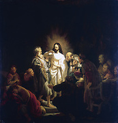 The Incredulity of Thomas' (1634) Picture illustrating episode in John 20:19-29 where the Apostle Thomas puts hand in wound in the risen Saviour's side as he doubts what he is seeing. Rembrandt van Rijn (1609-1669) Dutch painter.  Oil on wood.