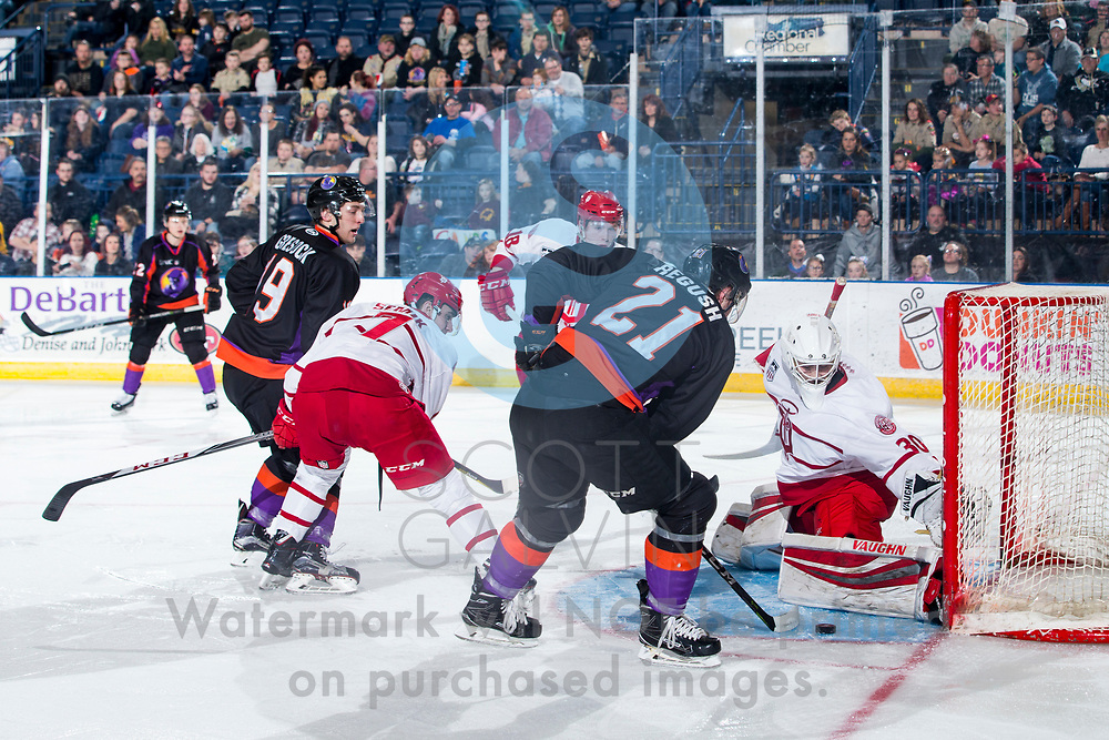 The Youngstown Phantoms defeat the Dubuque Fighting Saints 6-5 in overtime at the Covelli Centre on January 27, 2018.<br /> <br /> Mike Regush, center, 21; Chase Gresock, right wing, 19