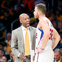 31 October 2014: Los Angeles Clippers Assistant Coach Sam Cassell talks to Los Angeles Clippers forward Blake Griffin (32) during the Los Angeles Clippers 118-111 victory over the Los Angeles Lakers, at the Staples Center, Los Angeles, California, USA.