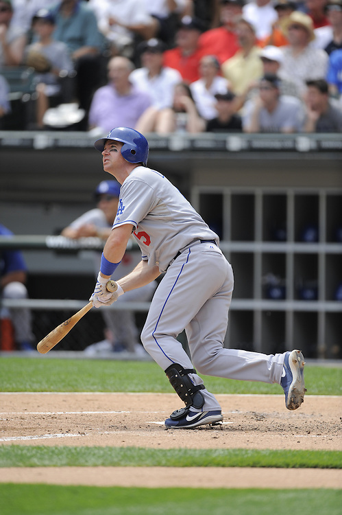 CHICAGO - JUNE 25:  Mark Loretta #5 of the Los Angeles Dodgers hits a double against the Chicago White Sox on June 25, 2009 at U.S. Cellular Field in Chicago, Illinois.  The White Sox defeated the Dodgers 6-5 in 13 innings.  (Photo by Ron Vesely)