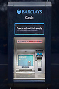 A Barclays bank cashpoint ATM machine.