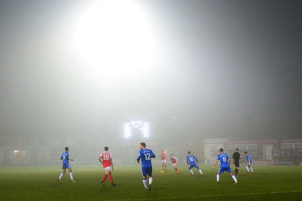 General View of match action on a foggy evening at the Highbury Stadium<br /> <br /> Photographer Richard Martin-Roberts/CameraSport<br /> <br /> The EFL Sky Bet League One - Fleetwood Town v Gillingham - Friday 22nd December 2017 - Highbury Stadium - Fleetwood<br /> <br /> World Copyright © 2017 CameraSport. All rights reserved. 43 Linden Ave. Countesthorpe. Leicester. England. LE8 5PG - Tel: +44 (0) 116 277 4147 - admin@camerasport.com - www.camerasport.com