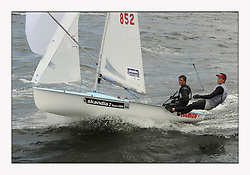470 Class European Championships Largs - Day 3.Brighter conditions with more wind...GBR852, Philip SPARKS, David KOHLER,  RLYC