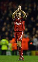 Photo: Paul Greenwood.<br />Liverpool v Manchester City. The Barclays Premiership. 25/11/2006. Liverpools Steven Gerrard applauds the Kop
