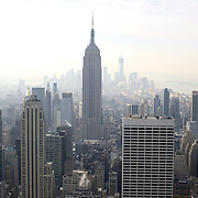 A panoramic view of Manhattan, New York, from the Top of the Rock, the observatory deck at Rockefeller Center showing the Empire State Building, Manhattan, New York, USA. 26th November 2012. Photo Tim Clayton