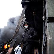 January 25, 2014 - Kiev, Ukraine: Anti-government protestors continue to demonstrate outside the Dynamo Kiev stadium near the Independence Square in central Kiev. (Paulo Nunes dos Santos)