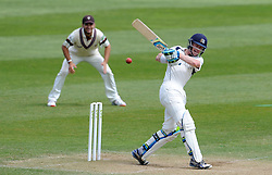 Middlesex's Nick Gubbins pulls the ball. - Photo mandatory by-line: Harry Trump/JMP - Mobile: 07966 386802 - 29/04/15 - SPORT - CRICKET - LVCC Division One - County Championship - Somerset v Middlesex - Day 4 - The County Ground, Taunton, England.