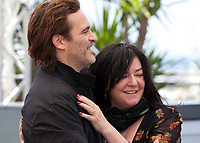 Joaquin Phoenix,  director Lynne Ramsay at the You Were Never Really Here film photo call at the 70th Cannes Film Festival Saturday 27th May 2017, Cannes, France. Photo credit: Doreen Kennedy