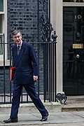 Leader of the House of Commons Jacob Rees-Mogg leaving after attending a Cabinet meeting at 10 Downing Street, in London on Tuesday, Feb. 25, 2020. (Photo/Vudi Xhymshiti)