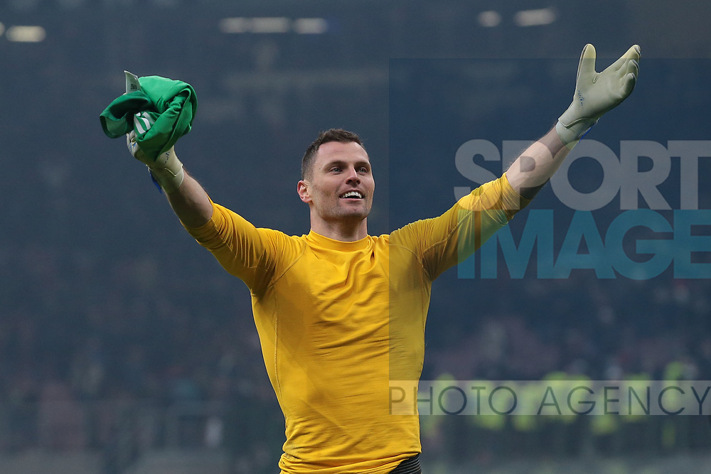Daniele Padelli of Inter celebrates after the final whistle of the Serie A match at Giuseppe Meazza, Milan. Picture date: 9th February 2020. Picture credit should read: Jonathan Moscrop/Sportimage