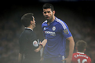 Diego Costa of Chelsea shouting at the assistant referee.  Barclays Premier league match, Chelsea v Manchester Utd at Stamford Bridge in London on Sunday 7th February 2016.<br /> pic by John Patrick Fletcher, Andrew Orchard sports photography.